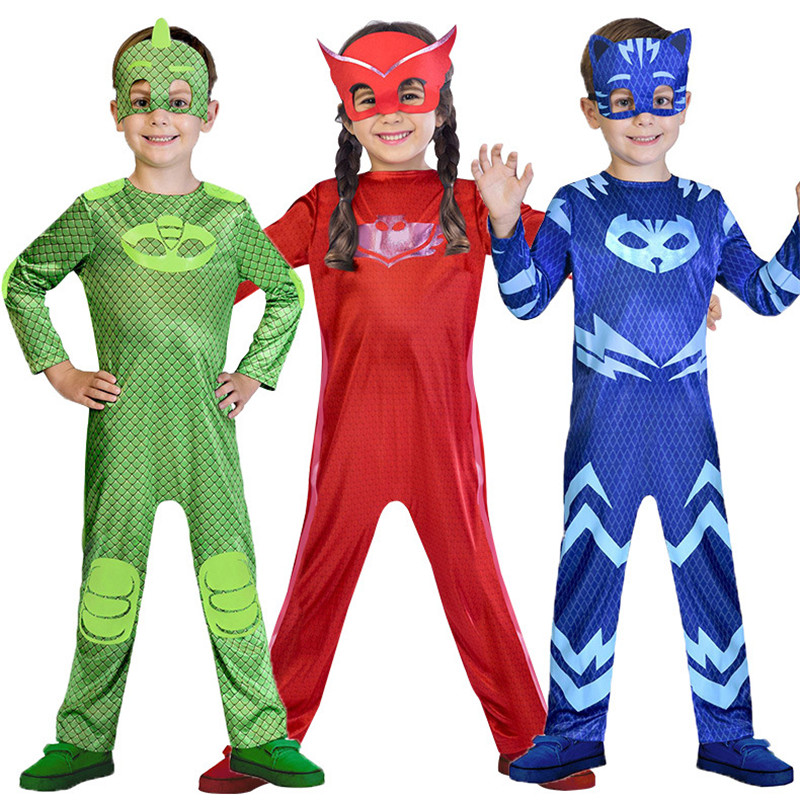 kids boys girls cosplay pj mask costume jumpsuits catboy owlette gekko halloween birthday party suit skin tight spandex costumes