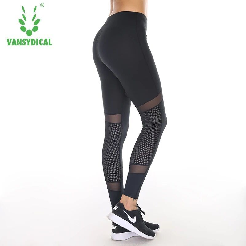 Vansydical Sexy Fitness Yoga Pant Womens Tights Running Leggings Sports Pants Female Women Gym Running Mesh Splice Workout Pants