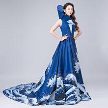 New 2019 Party Cheongsam Oriental Womens Maxi Dress Traditional Chinese  Style Elegant Long Qipao Luxury Trailing 2b810a1dd888