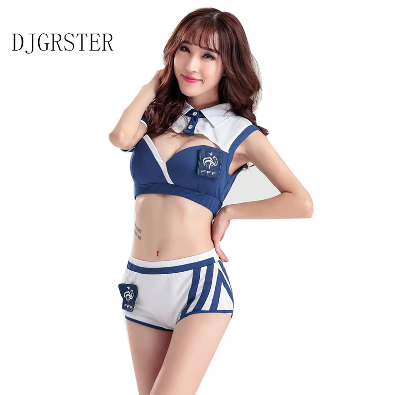 Djgrster Sexy High School Cheerleader Costume Girl Aerobics Dance Cheer Girls Race Car Driver Uniform Party Tops And Shorts In Sexy Costumes From Novelty