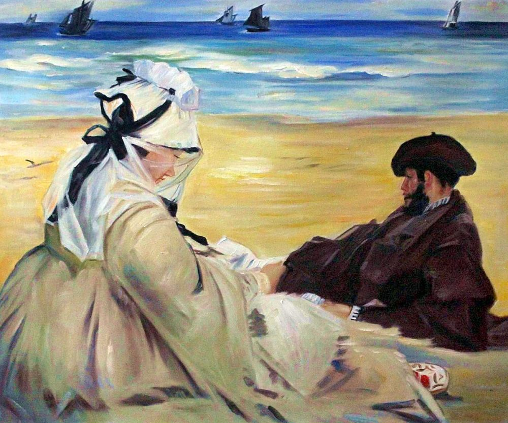 Handmade Sea Scenes Painting On the Beach by Edouard Manet Famous Painting Reproductions Canvas Wall Art