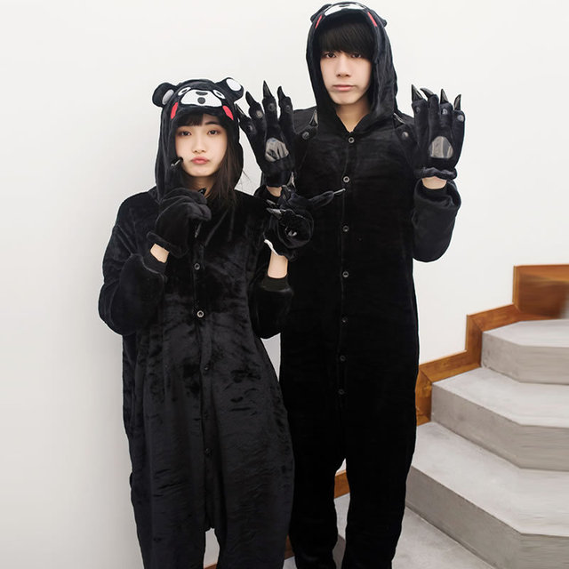 Kigurumi Adult Kumamon Pajamas For Unisex Couple Cartoon Unisex Cosplay Animal Pyjama Winter Sleepwear Men Costume Home Pijama