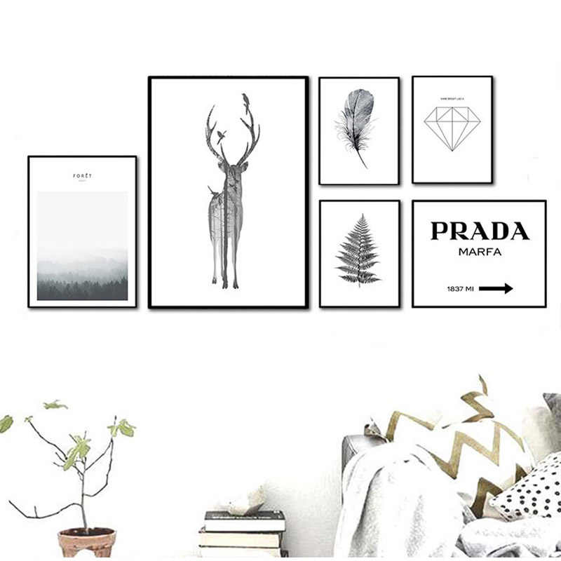 Nordic Abstract Print Animal Deer Canvas Painting Home Decor HD Wall Artwork Modular Pictures Poster Wedding Decoration Hot Sale