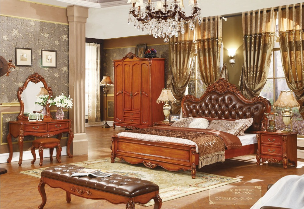 Hot Sale Cheap Price Good Quality Solid Wood King Size Bedroom Set