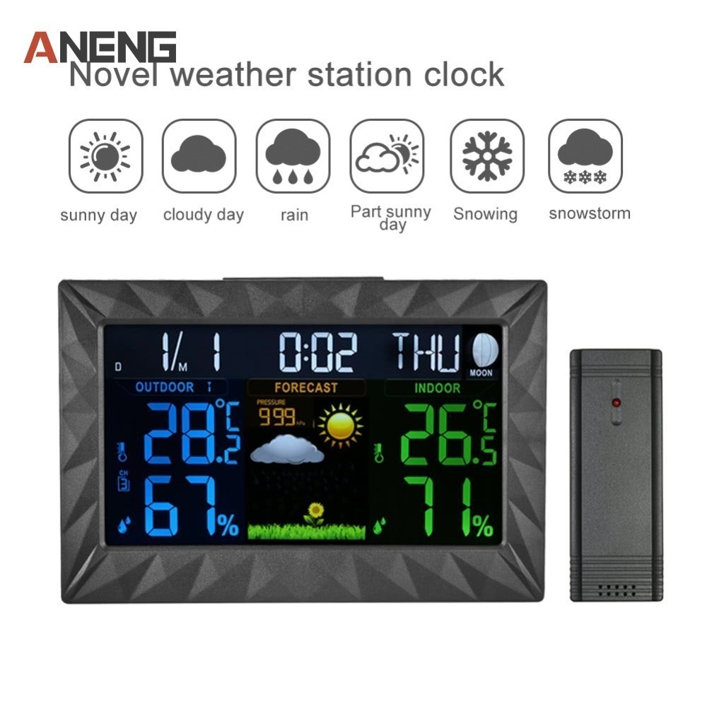 COLOR Wireless Weather Station With Forecast Temperature Humidity EU/US/UK Plug Alarm And Snooze Thermometer Hygrometer Clock цена