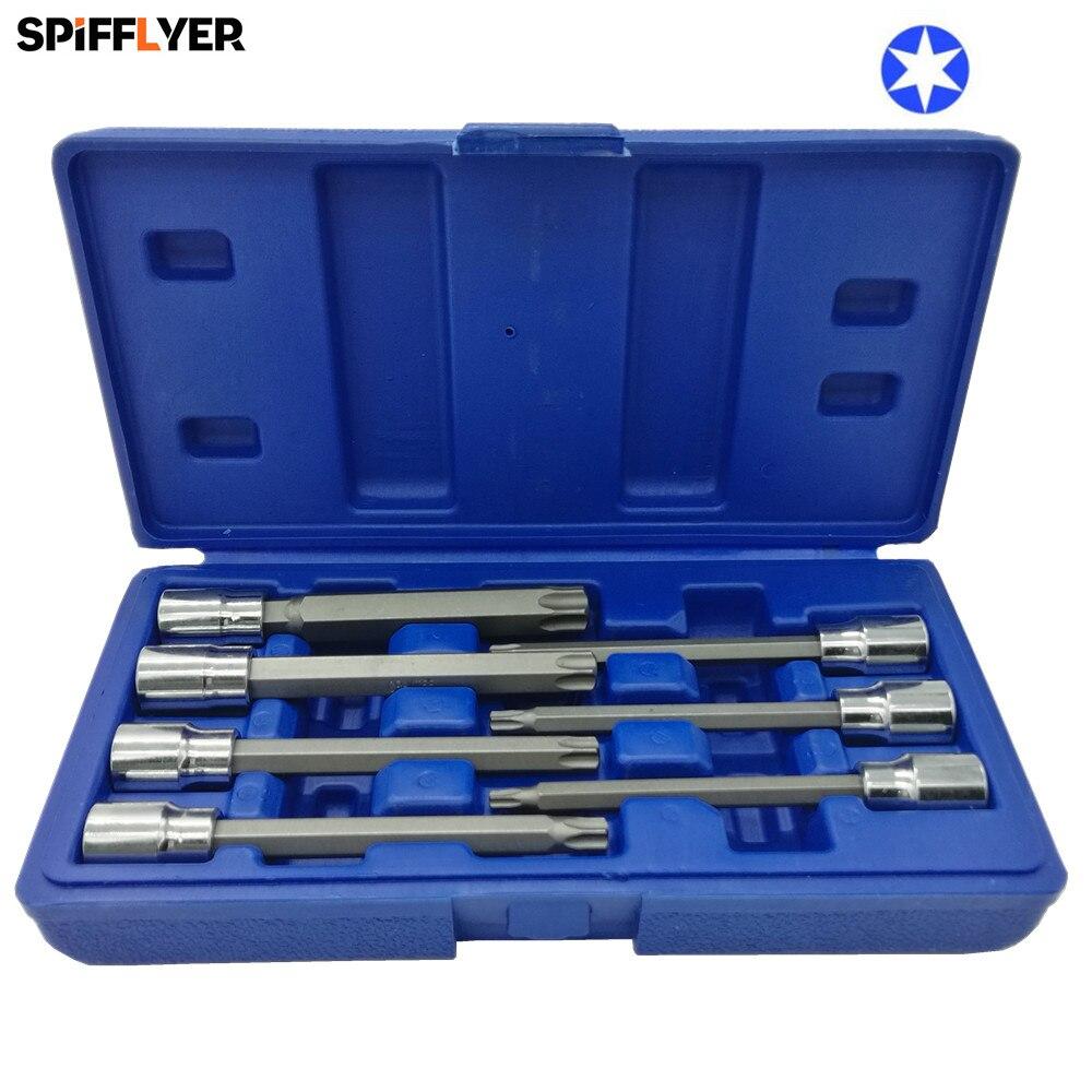 7PC 3/8 Drive Long Reach Star Bit Socket Set T25 T30 T40 T45 T50 T55 T60 Extra Long 110mm CR-V Torx Bit Socket Wrench Set t40 t60 6 jtc 5356