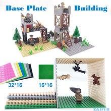 Piastra di Base per edificio militare fai-da-te 32*16 16*16 punti accessori in plastica per piccoli blocchi di mattoni blocco compatibile miglior giocattolo per bambini