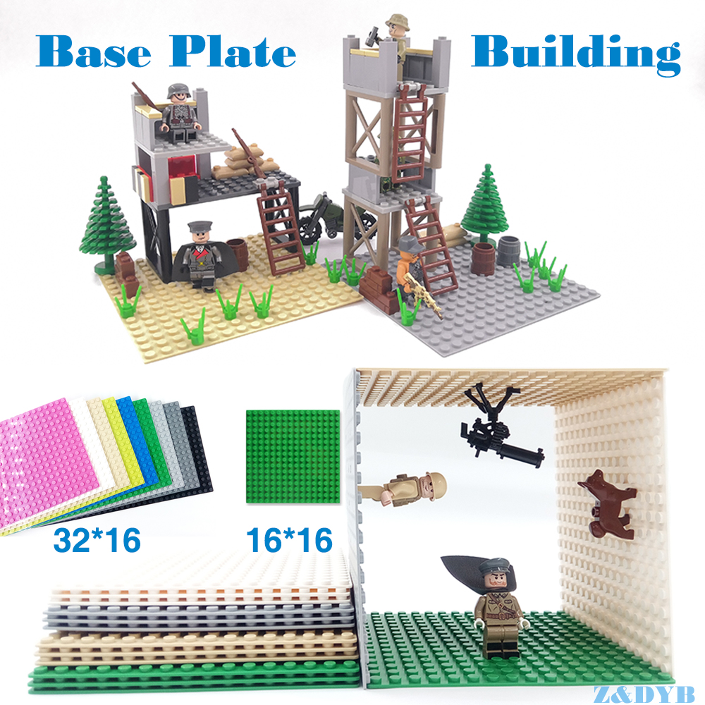 DIY Military Building <font><b>Base</b></font> <font><b>Plate</b></font> 32*16 16*16 Dots Plastic Small Brick Block Accessories Compatible Legoed Best Children Gift Toy image