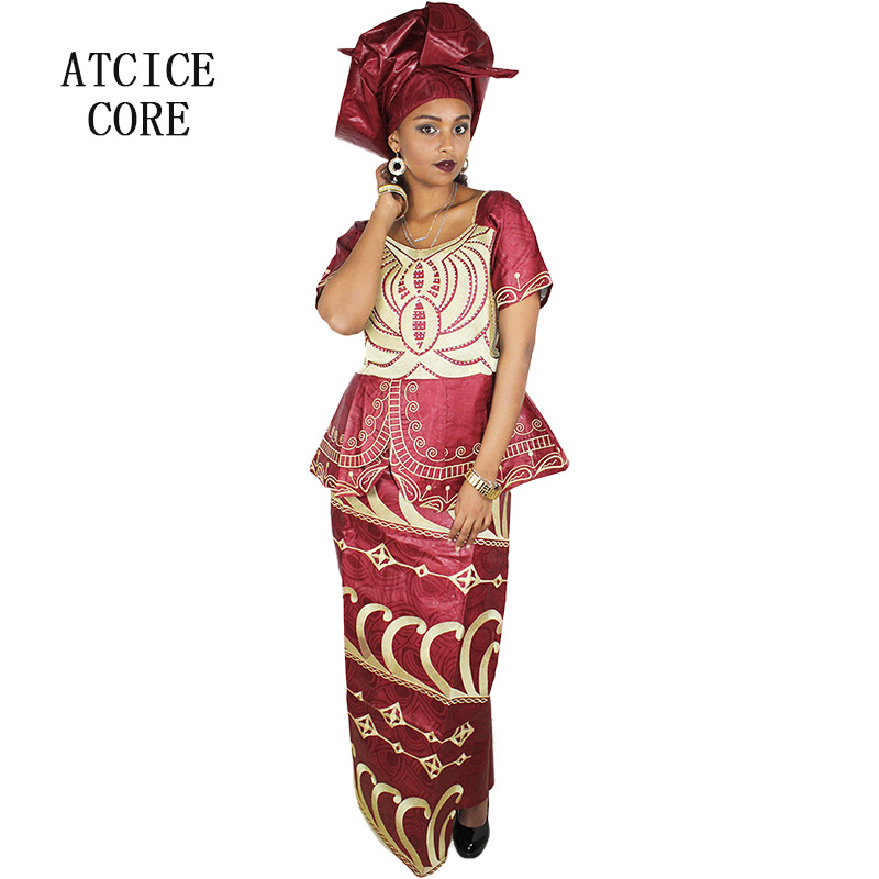 African New Design Bazin Embroidery Dresses Short Rapper With Scarf Three Pcs One Set Making Things Convenient For Customers