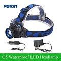 Headllight Cree Q5 LED impermeável farol 500lm Built in bateria de lítio recarregável cabeça lâmpadas 3 modos Zoomable carregador de carro