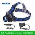 Headllight Cree Q5 Waterproof LED Headlamp 500lm Built-in Lithium Battery Rechargeable Head lamps 3 Modes Zoomable Car Charger