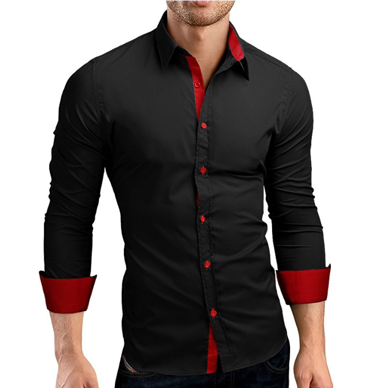 Menn Shirt Brand 2018 Mann Høy kvalitet Langermet skjorte Casual Hit Color Slim Fit Svart Man Dress Shirts 4XL C936