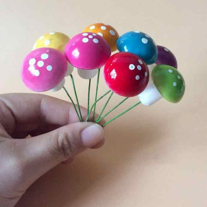 Multicolor โฟมเห็ด Landscape งานฝีมือ Fairy เค้ก Micro Mini DIY ตกแต่ง