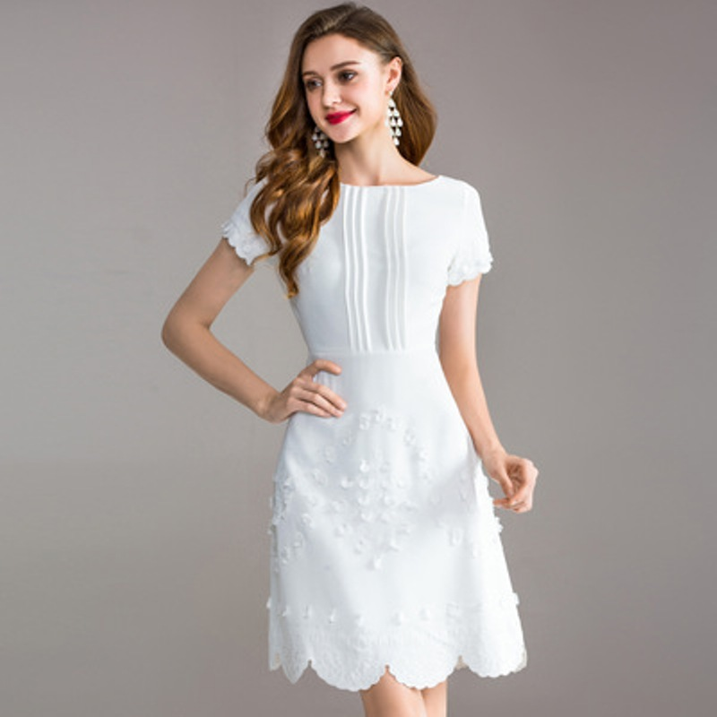 Sweet dresses 2018 new High quality spring Lace Party Dress white M XXXL Fashion Embroidery Women