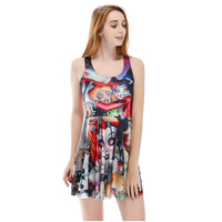 Europe And The United States New Summer Ladies Personality Horror Doll Pleated Large Umbrella Dress