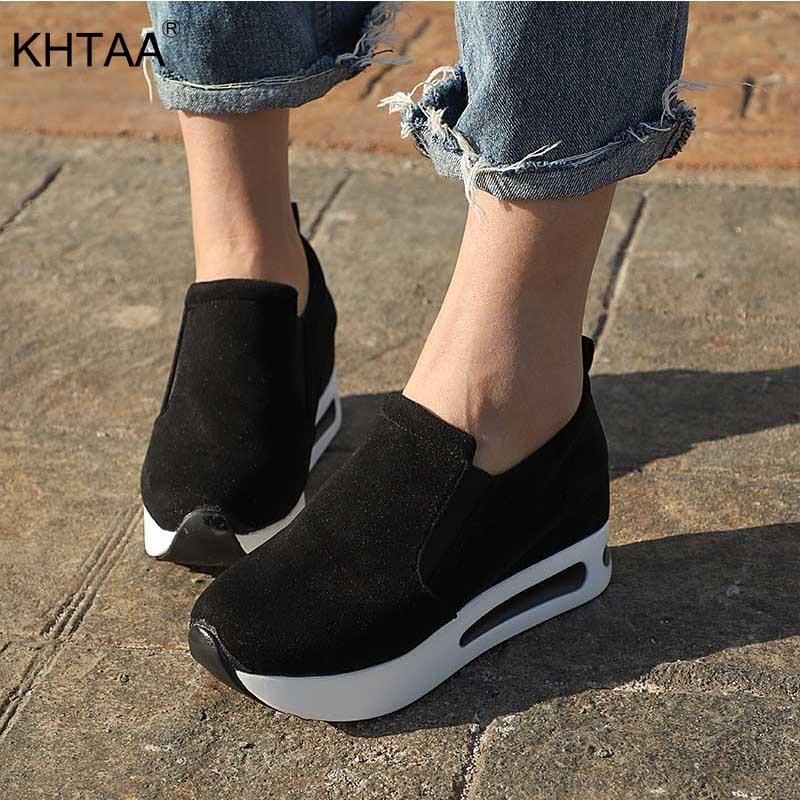 KHTAA Women Vulcanized Shoes Casual Wedge Platform Elastic Band Spring Autumn Increasing Shoes Ladie