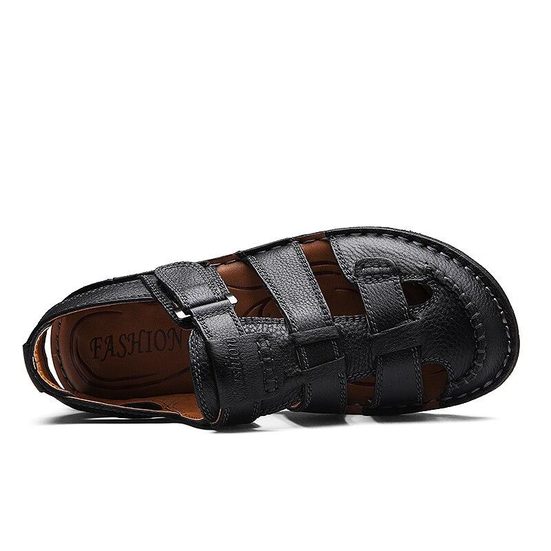 Noir Crochet Pêcheurs Chaussures Nouveau Véritable Sandales Plage Été Boucle Casual Main Appartements Couture Hommes Doux Sole marron En Cuir Nis qd6UwT6