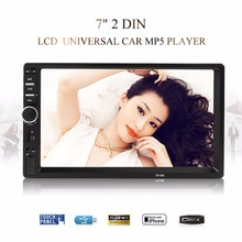 цены 7018B 7 Inch LCD HD 2 DIN Car In-Dash Touch Screen Bluetooth Car Stereo FM MP3 MP5 Radio Player with Wireless Remote Control