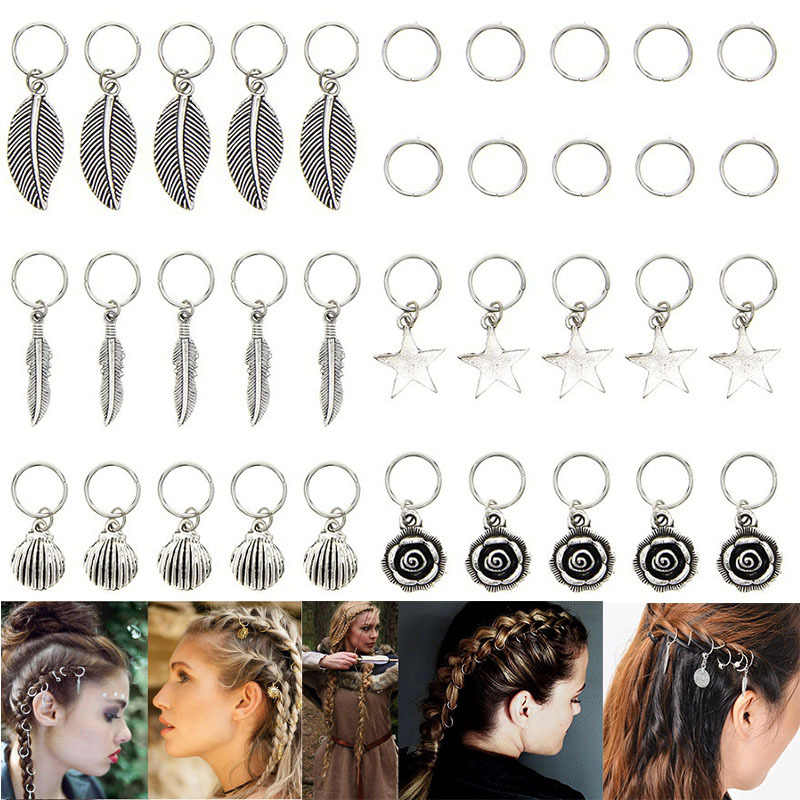 35pcs/bag Silver Metal Flower Hair Rings Braid Dreadlocks Bead Hair Cuffs Dread Tube Charm Dreadlock Hair Accessaries Extension