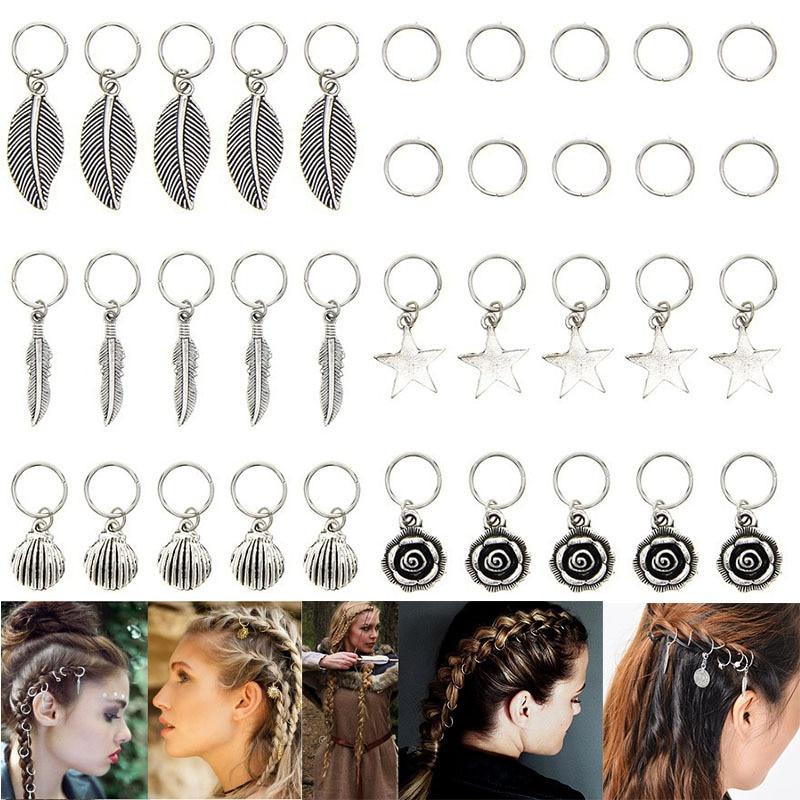 35pcs/bag Silver Metal Flower Hair Rings Braid Dreadlocks Bead Hair Cuffs Dread Tube Charm Dreadlock Hair Accessaries Extension