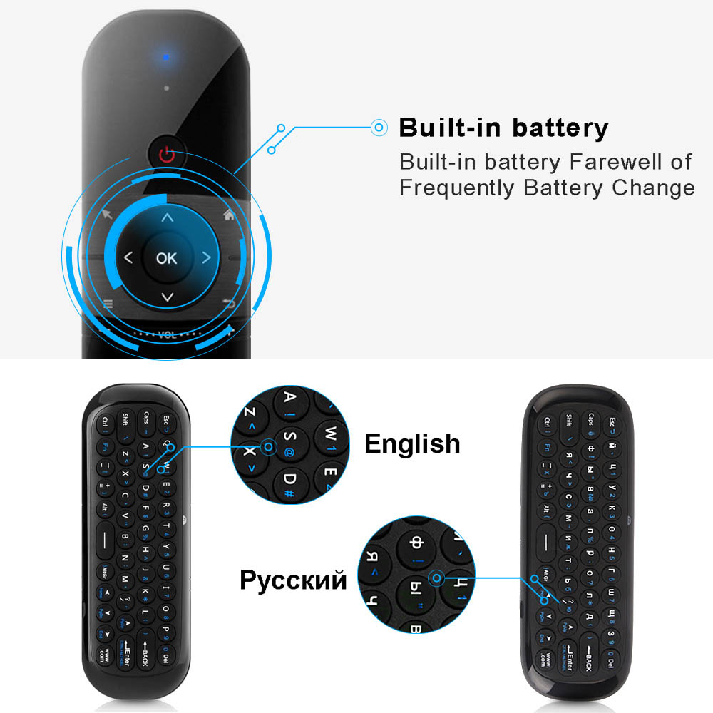 Image 3 - 2.4Ghz Air Mouse English Russian Wireless Keyboard 6 Axis Motion Sense IR Learning Rechargeable for Smart TV Android TV BOX PC-in Keyboards from Computer & Office