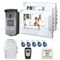 "Brand New Wired 7"" Home Video Door Phone Intercom System 2 Monitors + 1 RFID Access Door Camera + Remote Control FREE SHIPPING"