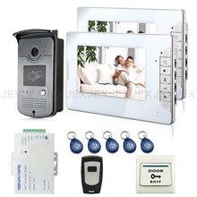 """Marke New Wired 7 """"Home Video Türsprechanlage Sprechanlage 2 Monitore + 1 RFID Zugangstür Kamera + Fernbedienung KOSTENLOSER VERSAND"""
