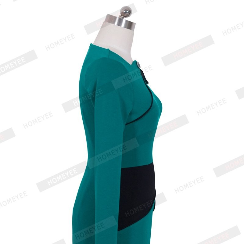 Black Dress Tunic Women Formal Work Office Sheath Patchwork Line Asymmetrical Neck Knee Length Plus Size Pencil Dress B63 B231 24