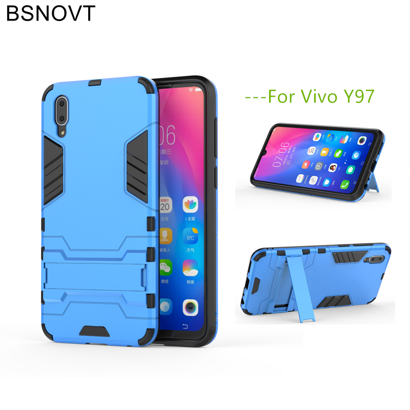 BSNOVT For Vivo Y97 Cover Soft Silicone+Plastic Kickstand Case For Vivo Y97 Case For Vivo Y97 Shell Fundas Capa 6.4