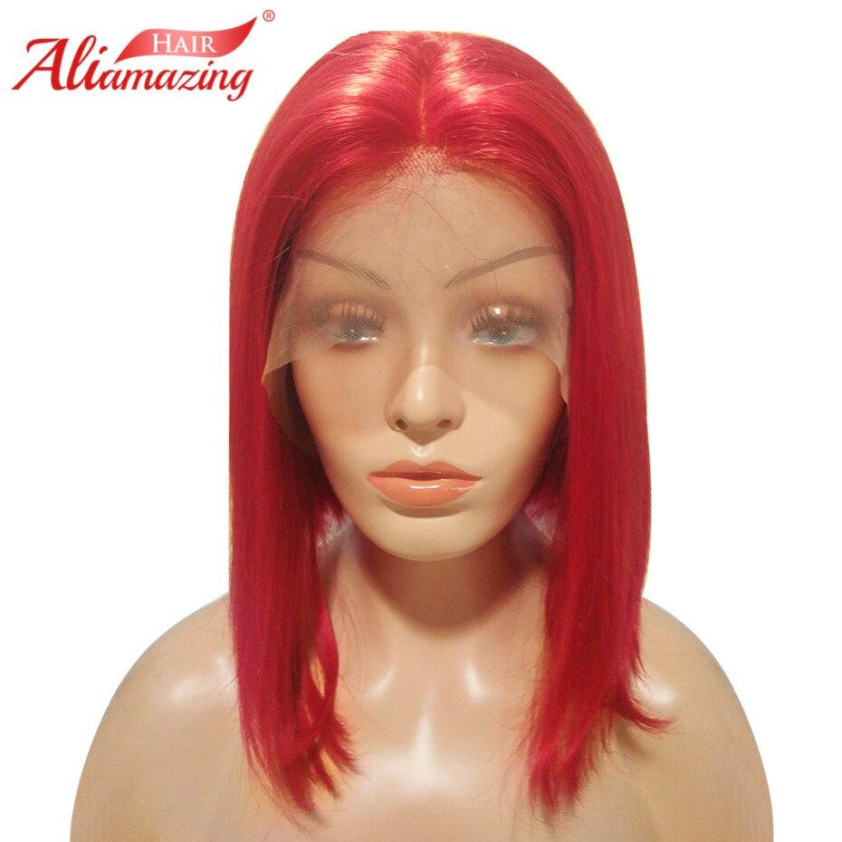 Ali Erstaunliche Haar Spitze Front Menschliches Haar Kurze Bob Perücken Für Frauen Rot Brasilianisches Remy Haar 130% Dichte Perücken Auf Der Ganzen Welt Verteilt Werden