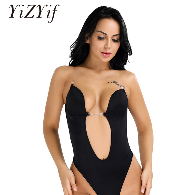 YiZYiF Women Body Shaper Deep V Wedding Bra Dress shapewear Bodysuit Thong One Piece Seamless U Plunge Conjoined Bra Body Suit