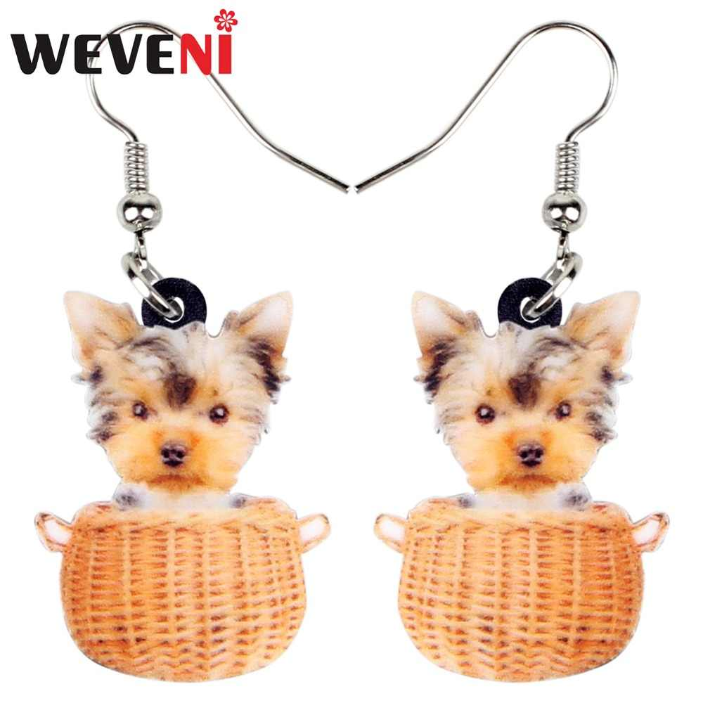 WEVENI Acrylic Cute Basket Of Tiny Yorkshire Terrier Dog Earrings Dangle Drop Cartoon Animal Jewelry For Women Girls Dropship
