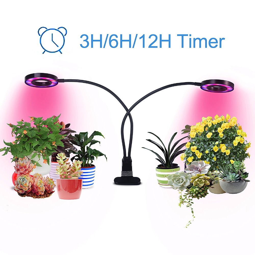 20W Dual Head Timing Grow Light Desk Lamp 48 LED 3/6/12H Timer usb grow light for Plants Red/Blue/white Spectrum 3 Switch Modes usb 6 led white light desk lamp w switch clip white silver dc 5v 3 x aaa