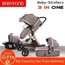 EU standard high landscape baby stroller luxury 3 in 1 trolley effectively reduc