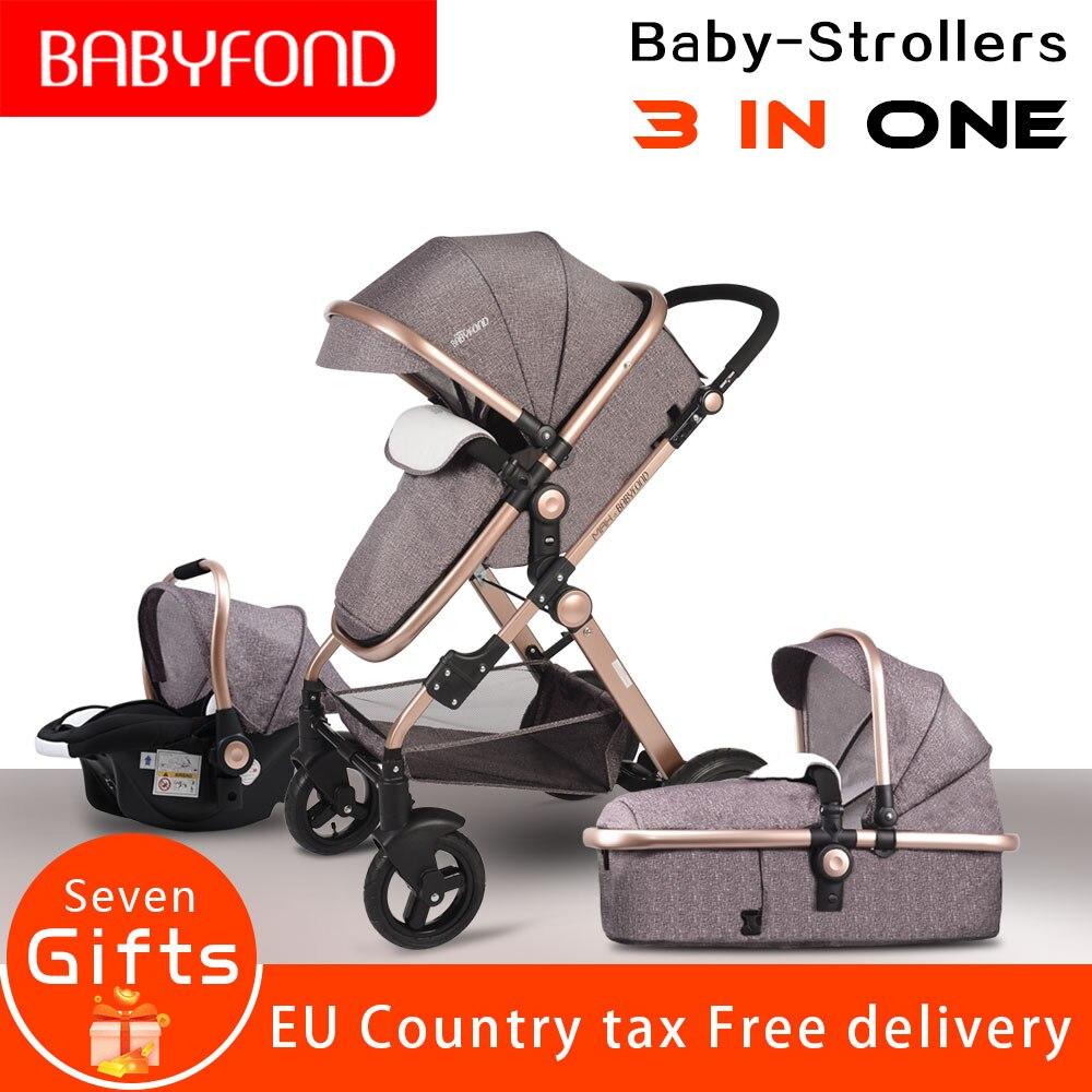 Le chariot 3-en-1 de luxe de poussette de bébé de paysage de norme de l'ue réduisent efficacement le landau de voiture de parapluie de vibration