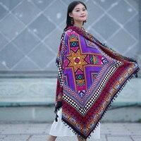 De L'inde Style Bohème Ethnique Big Carré Coton Écharpe Pour Femmes Hiver Musulman Hijab Châle Fleur Imprimer