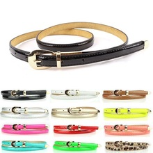 New Fashion Use 12 Colors Fashion Women Candy Color Narrow Thin Skinny Waist Belt Pu Leather Waistband Y1