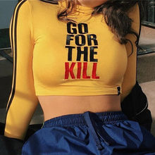 40cb2b8bc01 (Ship from US) 2018 New Yellow Letter Printed Long Sleeve Crop Top Women  Mock Turtleneck Black Striped Sexy Shirts Bodycon Autumn Cool
