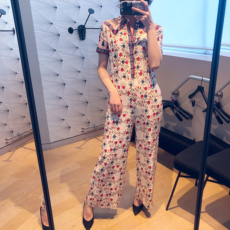 Women Jumpsuit Casual New 2019 Summer Short Sleeve Print Floral Slim Fit Combinaison Femme