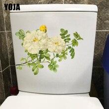 YOJA 24.4X17.1CM blanco Vintage flores pared decoración clásica casa pegatina para aseos baño T1-1992