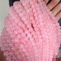 Comercio al por mayor 6mm Genuino Rosa Cuarzo Rosa Granos Cristalinos de Las Mujeres Femme Pulsera Collar DIY Transparente Cuerda Cadena de Cuentas Redondas Sueltas