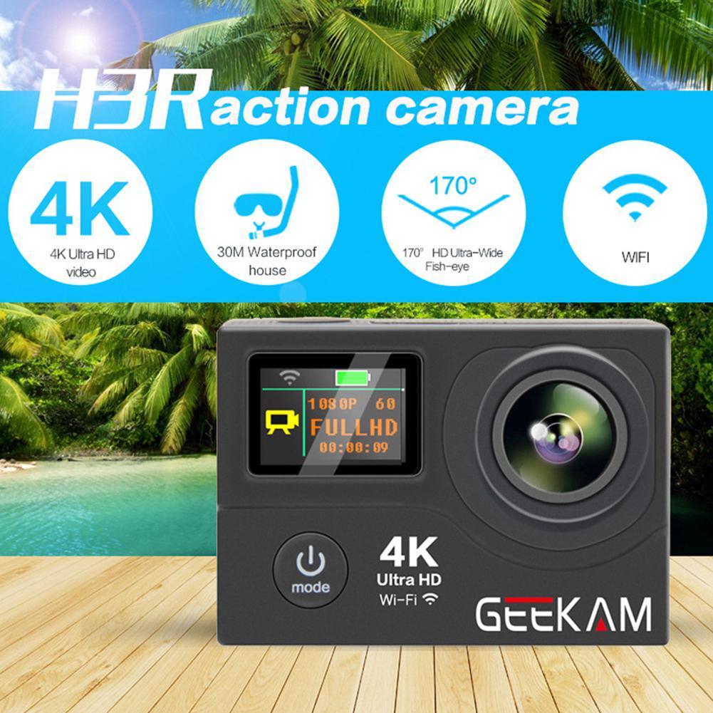 GEEKAM H3R Action Camera Ultra HD 170D 4K 12MP Wifi Double Screen 1080P 60fp Go 30M Waterproof Pro Mini Sports Camera action camera h3r h3 ultra hd 4k 1080p 170d wide angle dual screen sports camera 2pcs battery dual charger