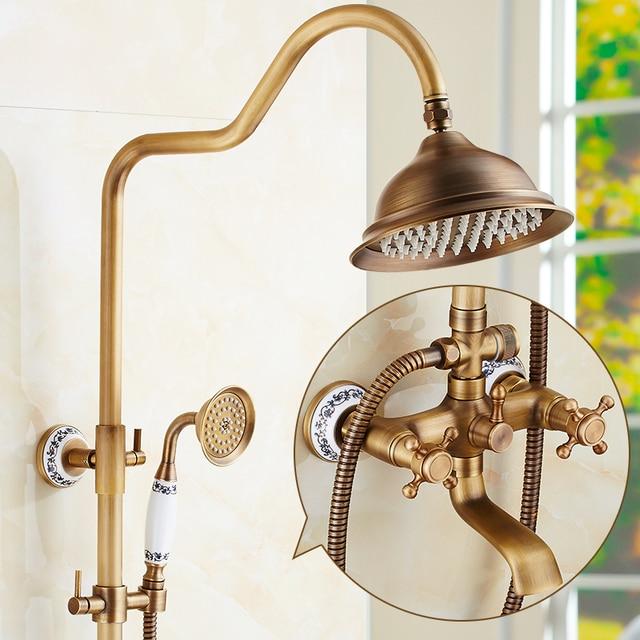 New Luxury Antique Brass Rainfall Shower Sets Faucet Mixer Tap Tub ...