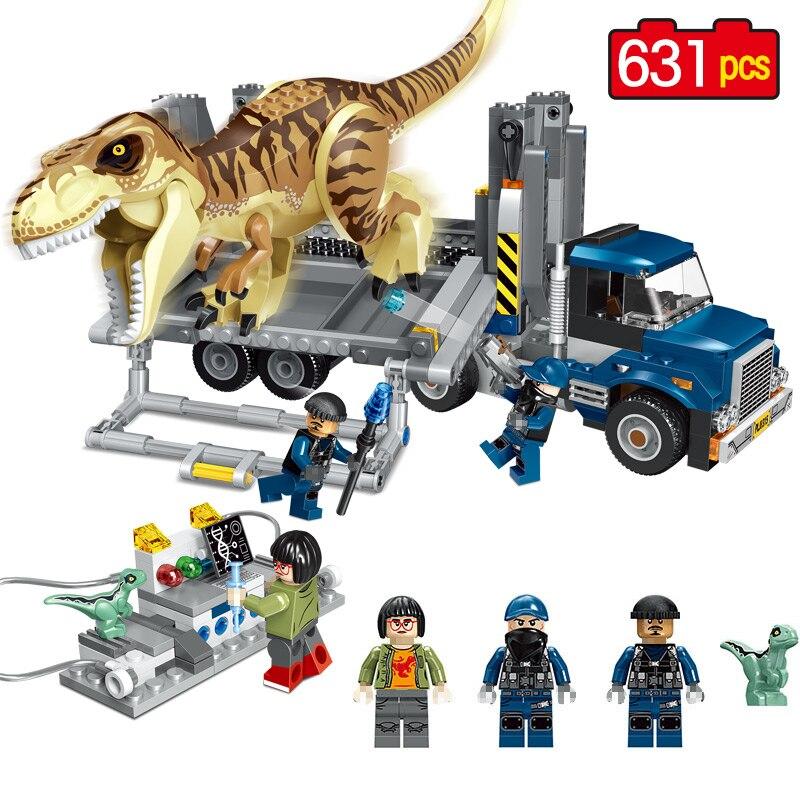 631 шт. мир Юрского парк T. rex Транспорт модель Builing блоки, совместимые Legoingly 75933 динозавра Юрского периода игрушки для детей
