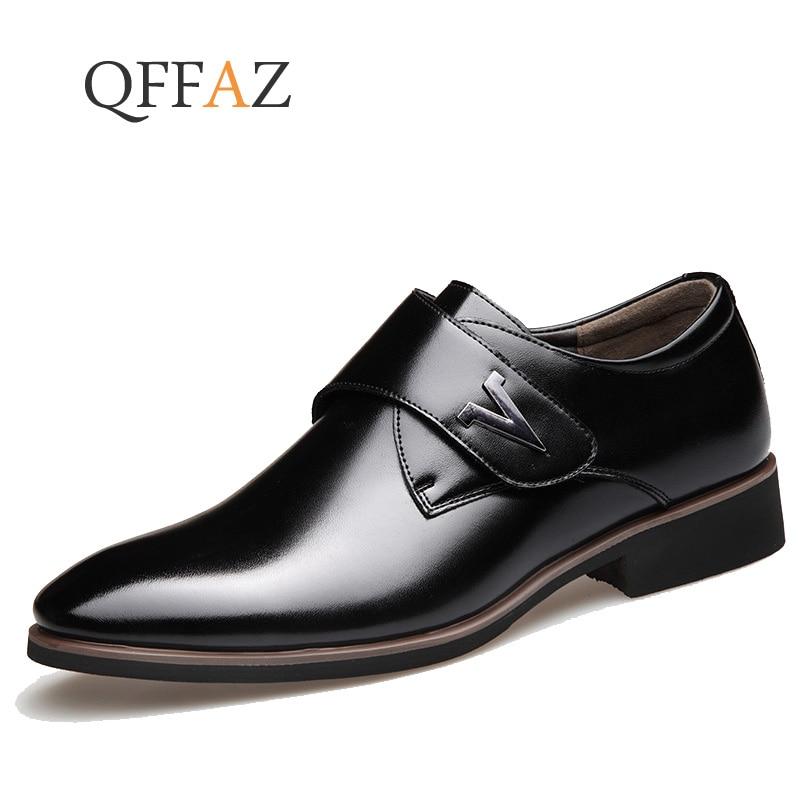 QFFAZ Men Dress Shoes Men Formal Shoes Leather Luxury Fashion Wedding Shoes Men Business Casual Oxford Shoes