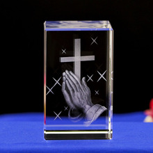 Crystal cube 3D  engraving, cross of Jesus church ornaments souvenirs Christian crafts jesus christianity