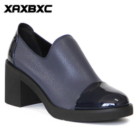 XAXBXC Retro British Style Leather Brogues Oxfords High Heels Women Shoes Blue Shallow Thick Heel Handmade