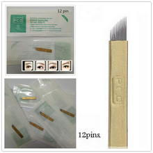50 PCS PCD 12-Pin Permanent Makeup Manual Eyebrow Tattoo Needles Blade For Microblading Pen
