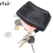 eTya Fashion Genuine Leather Women Car Key Holder Keyring Pouch Casual Coin Purse Case Wallet Purse(China)
