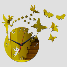 new arrival real wall clock watch clocks diy home decoration cartoon acrylic mirror the stickers living room free shipping